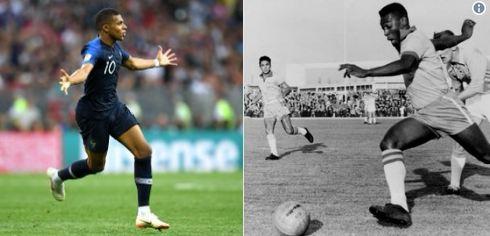 Mbape trashigimtari i Peles, golëshënuesi më i ri i botërorit