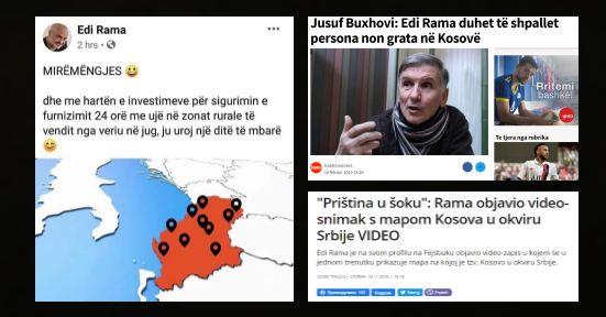 Gafa e Ramës/ Futi Kosovën në hartën e Serbisë. Furtunë në Prishtinë, jehonë në Beograd