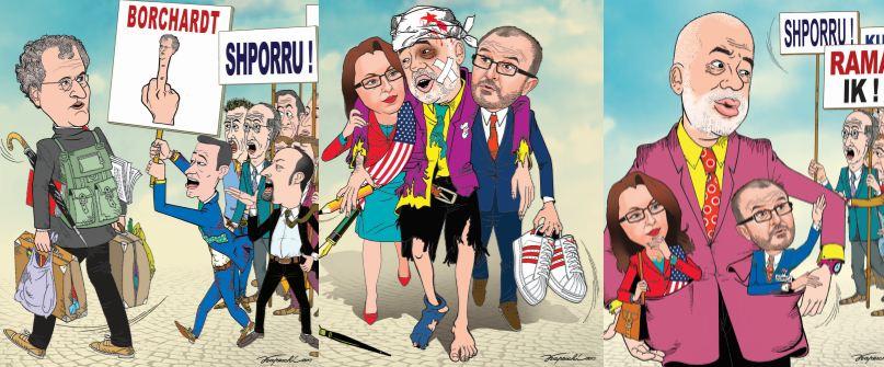 Karikaturat/ Si po shndërrohen në qesharakë ndërkombëtarët e Tiranës