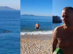 VIDEO/ 52-vjeçari nga Fieri që pëlqen larjen në det në janar