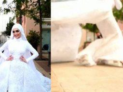 VIDEO/ Kjo nuse po bënte fotot e dasmës kur ndodhi shpërthimi në Bejrut